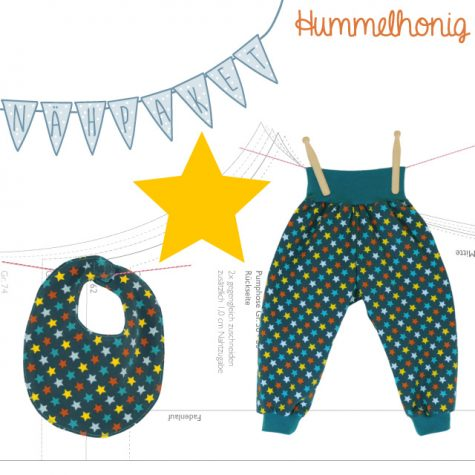 Nähpaket Pumphose und Lätzchen Sterne