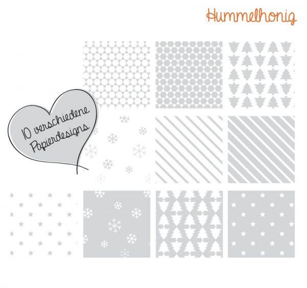 Bastelbook Papiersterne Weihnachten grau