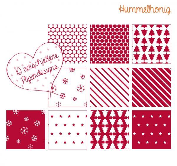 Printable Papiersterne Weihnachten rot