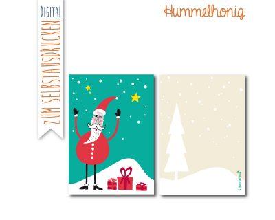Printable Postkarte Weihnachtsmann
