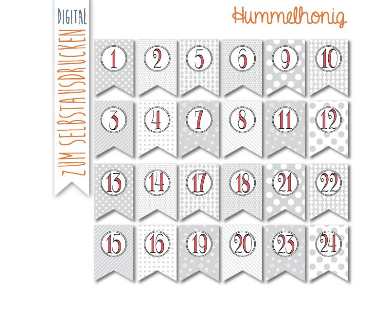 Printable Adventskalenderzahlen Hummelhonig