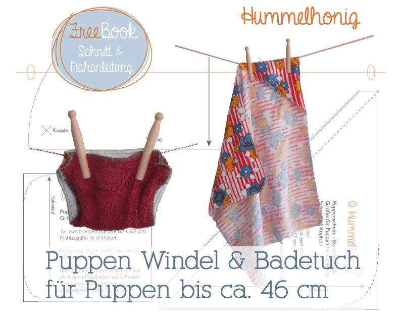 Freebook Puppen Windel und Badetuch – Hummelhonig