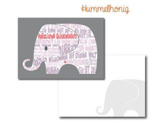 Postkarte Elefant Girl