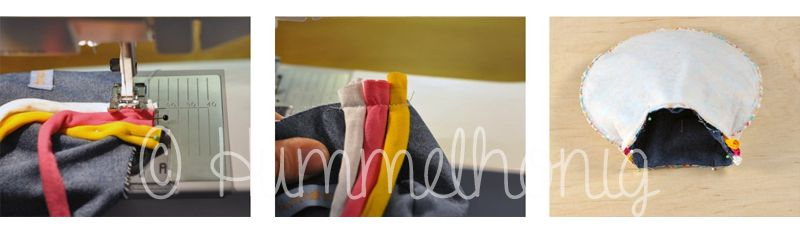 Ostertäschchen: Kordeln festnähen