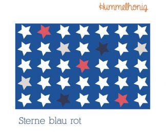 Stoffdesign Sterne blau rot
