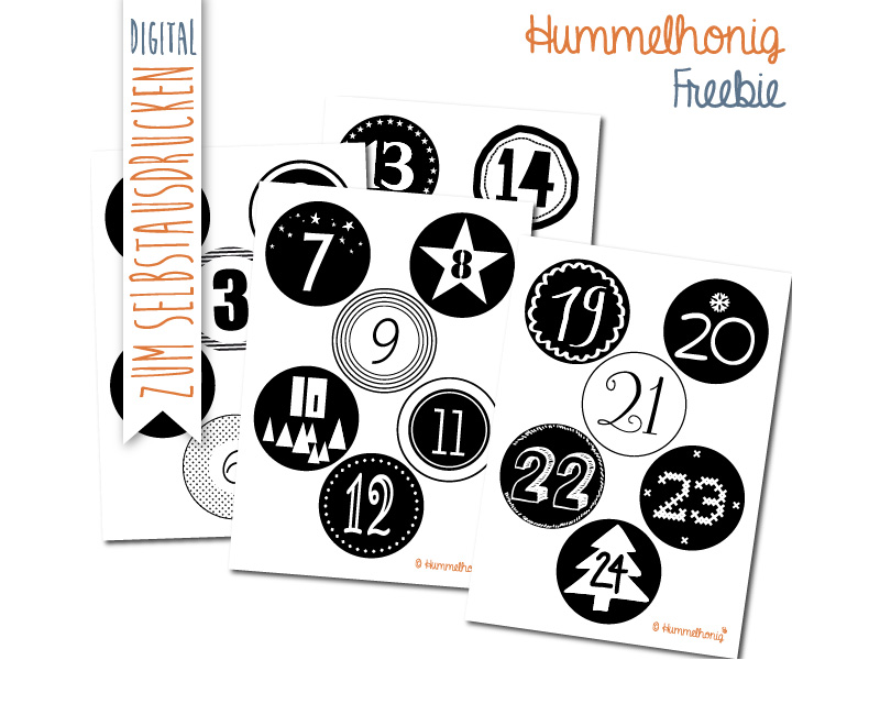 Freebie Printable Adventskalenderzahlen