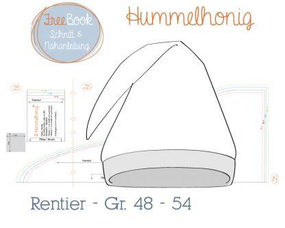 Freebook Mütze Rentier Skizze