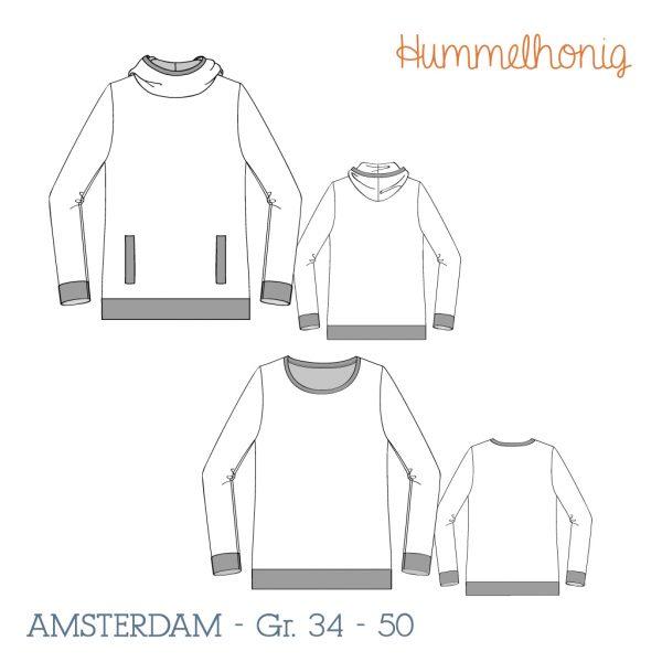 Damen Hoodie Amsterdam Skizze