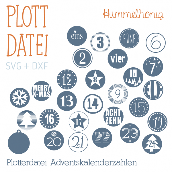 Plotterdatei Adventskalenderzahlen