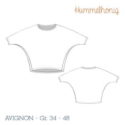Damen Fledermausshirt Avignon Skizze