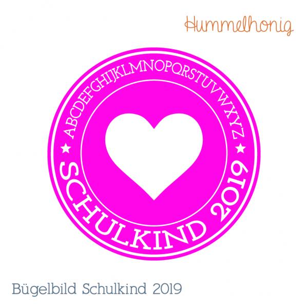 Bügelbild Schulkind Herz 2019