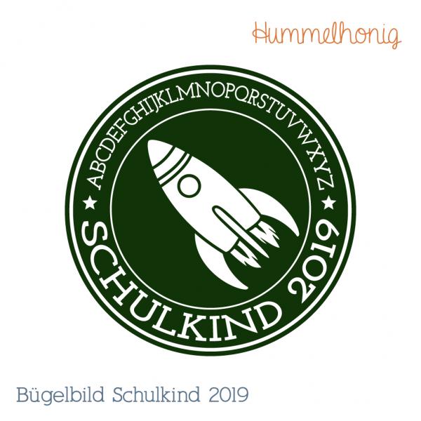 Bügelbild Schulkind Rakete 2019