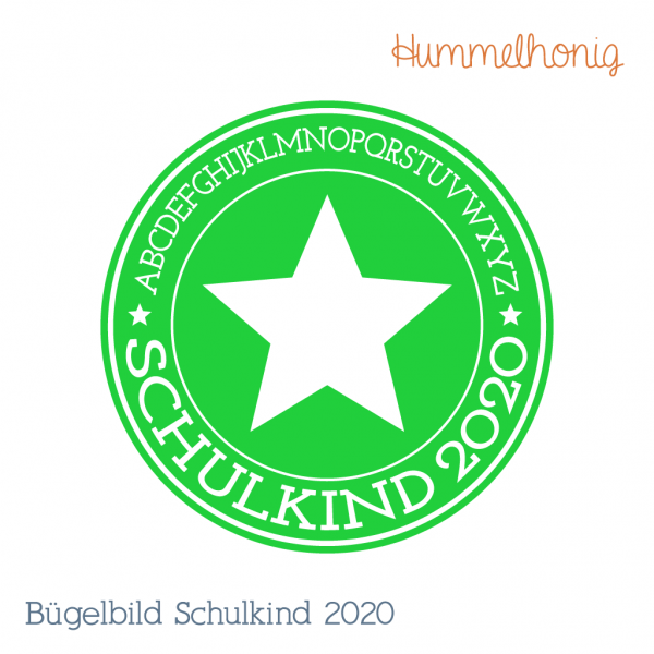 Bügelbild Schulkind Stern 2020