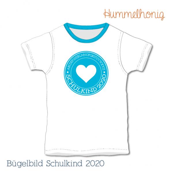 Bügelbild Schulkind Herz 2020