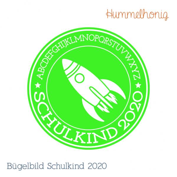 Bügelbild Schulkind Rakete 2020