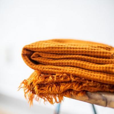 Viscose waffle knit curry