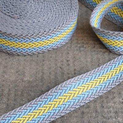 Gurtband Fischgrät hellgrau-hellblau-gelb